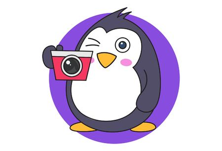 Vector cartoon illustration of cute penguin with camera. Isolated on white background.