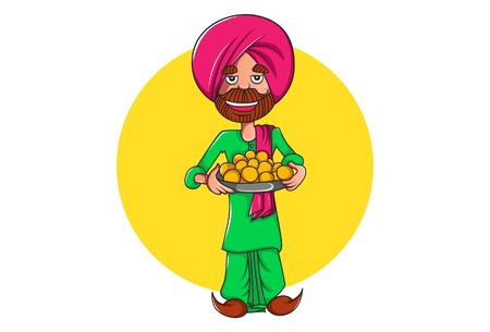 Vector cartoon illustration of punjabi man holding the plate of sweets in hand. Isolated on white background.