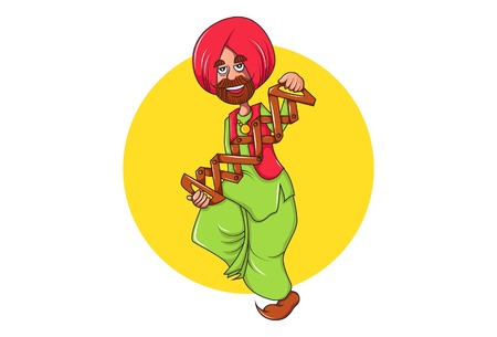 Vector cartoon illustration of punjabi man dancing and using traditional punjabi musical instrument sapp. Isolated on white background.