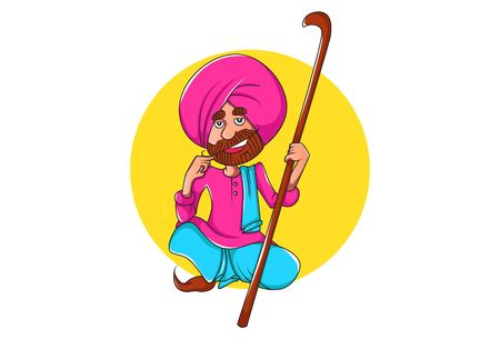 Vector cartoon illustration of punjabi man sitting and holding the stick in hand. Isolated on white background.