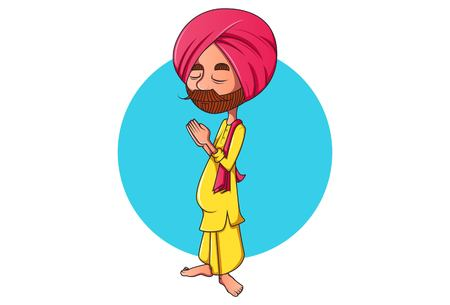 Vector cartoon illustration. Punjabi man standing with greet hands. Isolated on white background.