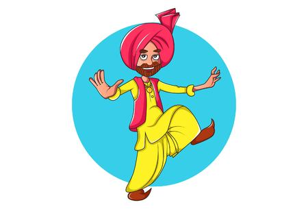 Vector cartoon illustration of Punjabi man dancing bhangra . Isolated on white background.