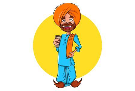 Ilustración de dibujos animados de vector de punjabi hombre sosteniendo un vaso en la mano. Aislado sobre fondo blanco.