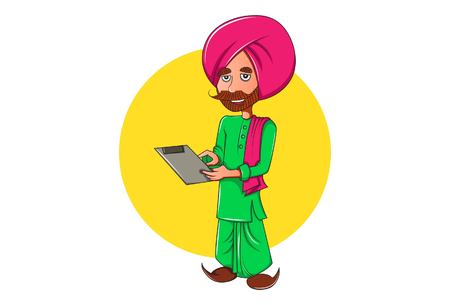 Vector cartoon illustration. Punjabi man holding paper in hand and reading the paper. Isolated on white background.