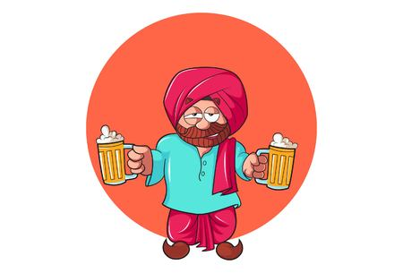 Vector cartoon illustration of Punjabi man holding the beer cup in hand. Isolated on white background.