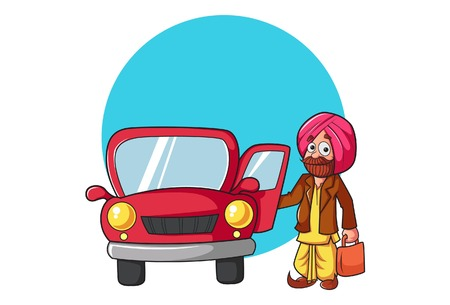 Vector cartoon illustration of punjabi man standing outside the car. Isolated on white background. Illustration