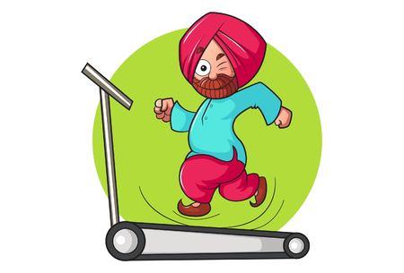 Vector cartoon illustration. Punjabi man running on trade mill. Isolated on white background.