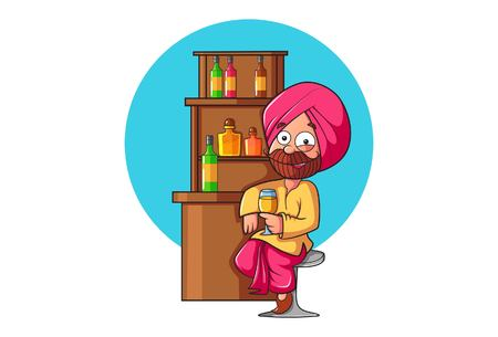 Vector cartoon illustration .Punjabi man sitting at bar and having a drink . Isolated on white background.