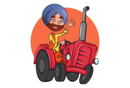 Vector cartoon illustration of punjabi man on tractor in Punjab. Isolated on white background. Ilustração