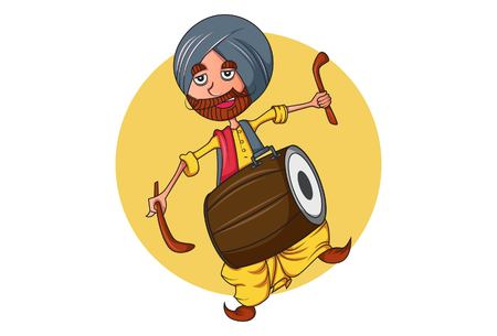 Vector cartoon illustration of punjabi man  with dhol. Isolated on white background. Illustration
