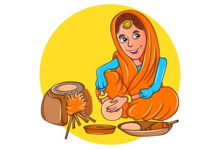 Vector cartoon illustration of punjabi sardarni  making chapatis on the earthen stove. Isolated on white background. 向量圖像