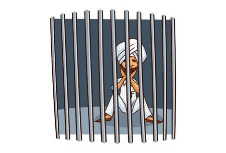 Vector cartoon illustration of punjabi sardar behind the bars . Isolated on white background. Illustration