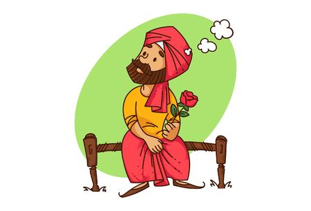 Vector cartoon illustration of punjabi sardar man sitting on a bed with a rose in hand thinking . Isolated on white background. Illustration