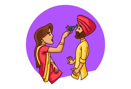 Vector cartoon illustration of punjabi sardarni pointing a gun at her husband . Isolated on white background.