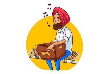 Vector cartoon illustration of  a punjabi sardar man playing harmonium on bed . Isolated on white background.