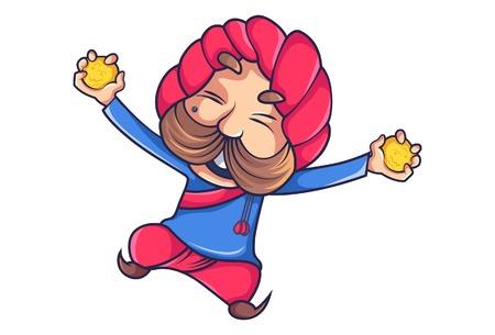 Ilustración de dibujos animados vector de rajput hombre feliz con dulces en las manos. Aislado sobre fondo blanco.