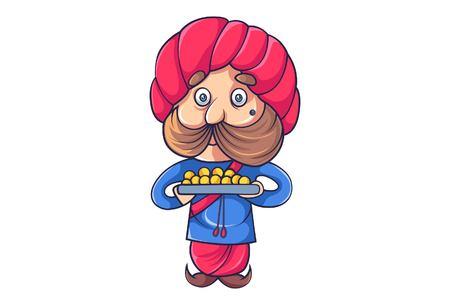 Vektor-Cartoon-Illustration von Rajput-Mann mit einem Teller mit Süßigkeiten. Isoliert auf weißem Hintergrund.
