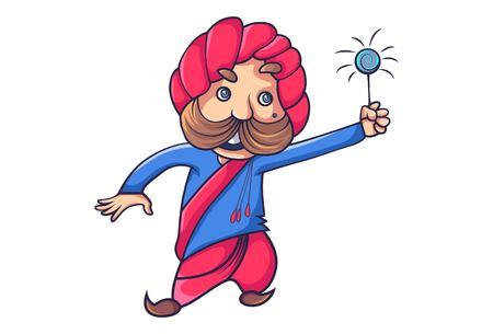 Vector cartoon illustration of rajput man. Isolated on white background.