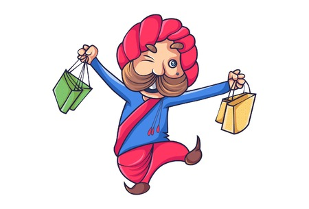 Vector cartoon illustration of happy rajput man with shopping bag . Isolated on white background.