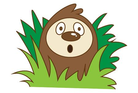 Vector cartoon illustration of cute sloth with grass.Isolated on white background. Иллюстрация