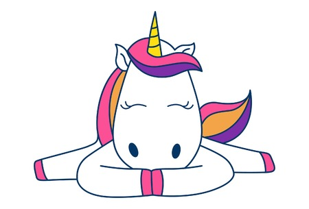 Vector cartoon illustration of cute unicorn lie down with open legs. Isolated on white background.