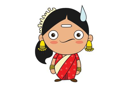 Vector cartoon illustration of south indian woman confused. Isolated on white background.