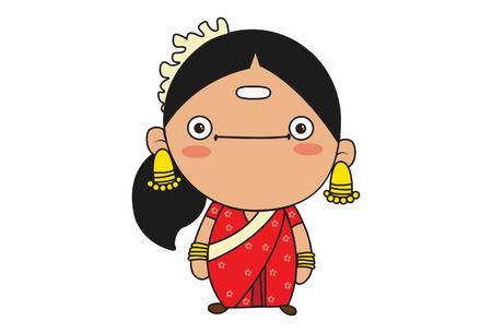 Vector cartoon illustration of beautiful south indian woman. Isolated on white background.