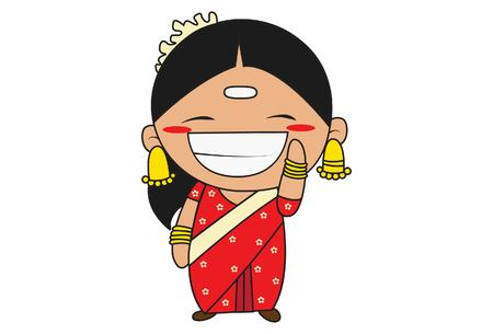 Vector cartoon illustration of south indian woman laughing. Isolated on white background.