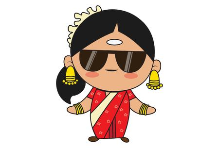Vector cartoon illustration of south indian woman wearing black glasses. Isolated on white background. Illustration
