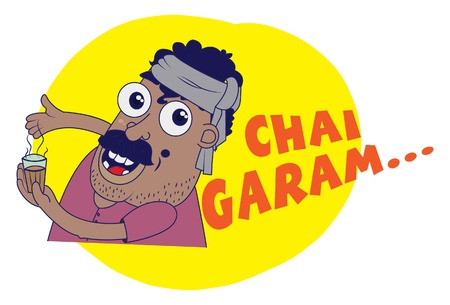 Indian themed Chat Stickers - a man with a tea cup saying Chai Salt . Vector Illustration. Isolated on white background.