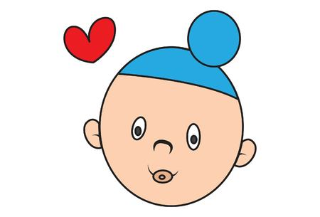 Vector cartoon illustration of cute sardar baby with heart. Isolated on white background.