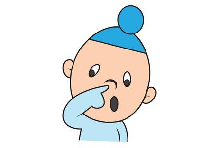 Vector cartoon illustration of cute sardar baby poking nose.Isolated on white background. Illustration