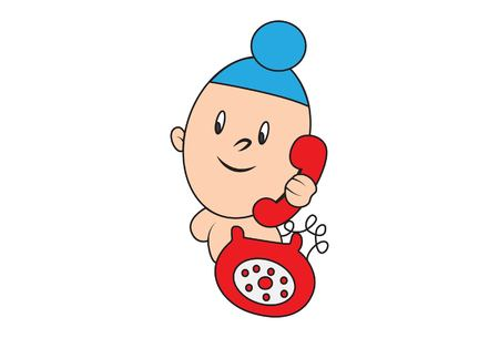 Vector cartoon illustration of cute sardar baby with telephone.Isolated on white background. Illustration
