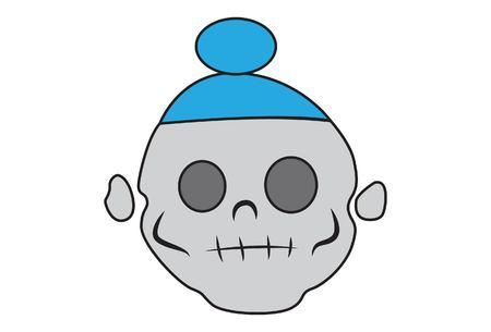 Vector cartoon illustration of cute skull with turban.Isolated on white background. Illustration