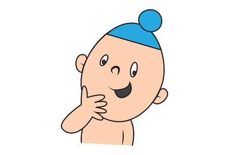 Vector cartoon illustration of cute sardar baby happy.Isolated on white background.