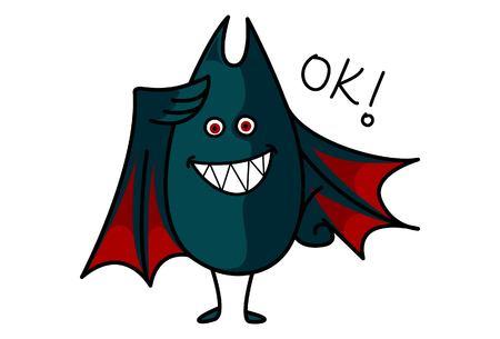 Vector cartoon illustration of cute bat saying ok. Isolated on white background. Standard-Bild - 116479382