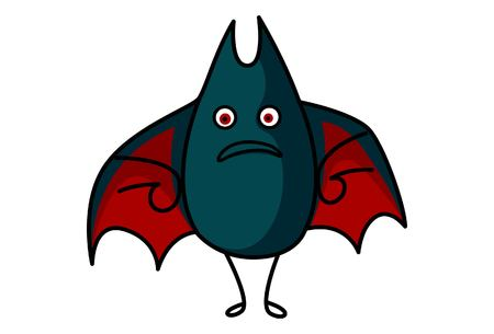 Vector cartoon illustration of cute bat angry. Isolated on white background.