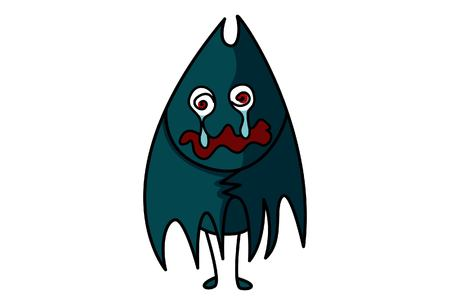 Vector cartoon illustration of cute bat sad.Isolated on white background.