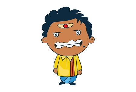 Vector cartoon illustration of south indian man angry. Isolated on white background.