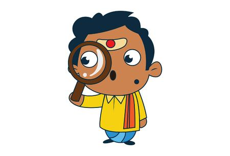 Vector cartoon illustration of south indian man with magnify glass. Isolated on white background. Vector Illustration