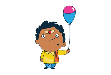 Vector cartoon illustration of south indian man with balloon. Isolated on white background.