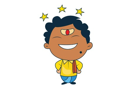 Vector cartoon illustration of south indian man happy with stars. Isolated on white background. Illustration