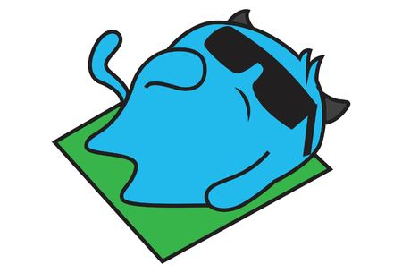 Vector cartoon illustration of blue monster lay is down on floor , wearing black glasses. Isolated on white background. 向量圖像