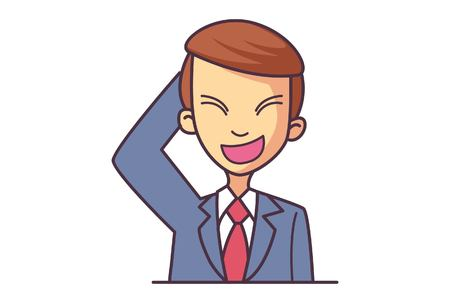Vector cartoon illustration of cute businessman boy his hand on head. Isolated on white background. 矢量图像