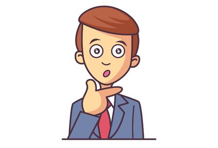 Vector cartoon illustration of cute businessman boy astonished. Isolated on white background.