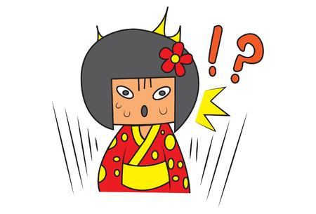 Vector cartoon illustration of cute Chinese girl shocked. Isolated on white background.