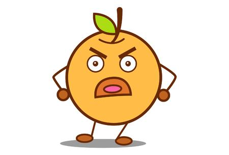 Vector cartoon illustration of cute orange angry .Isolated on white background.