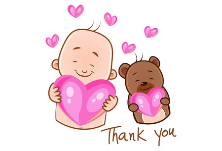 Vector cartoon illustration. Cute baby and teddy bear is holding pink heart in hand and saying thank you. Isolated on white background.