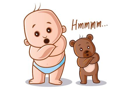 Vector cartoon illustration. Cute baby and teddy bear both saying hmm. Isolated on white background