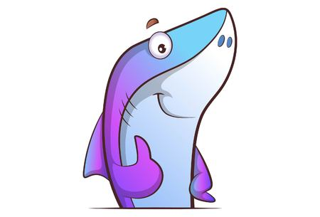 Vector cartoon illustration of cute shark showing thumbs up . Isolated on white background.